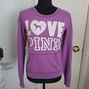 Pink by VS purple and white sweatshirt. Size Small